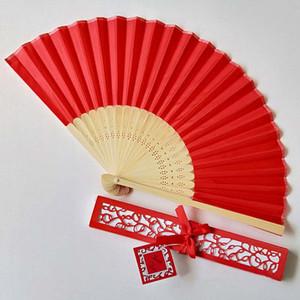 Fiesta de la Mujer ventilador de la mano portátil plegable de la mano ahueca hacia fuera el chino Fan plegable elegante de encargo Laser-Cut favores de la boda de la caja de regalo del ventilador BH2207 TQQ