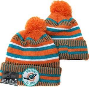 gros Miami MIA Beanies rayé Sideline Design Sport Crucial Catch Cuffed Bonnet laine Bonnet sortie chaud tricot Calotte