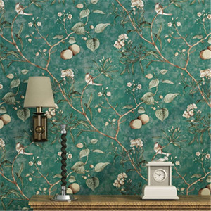 Retro ländlichen Stil Tapete Wohnzimmer Schlafzimmer Wand-Papier Dark Green Blumen und Vögel TV Hintergrund Home Decor Wandbespannung