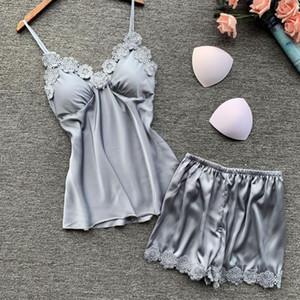 Pajamas Suit Satin Women Strap Top&Shorts Silky Nightwear 2PCS Sleep Set Lace Pyjamas Intimate Lingerie Home Clothes Bathrobe