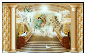 Custom 3D Silk Photo Mural Wallpaper 3D European Angel Stairs Mural Salón TV Fondo Mural Pegatinas de pared Papel de parede