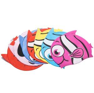 Linda impermeable de los niños de dibujos animados Natación Sombrero - gorro de natación Los niños pequeños niños de silicona