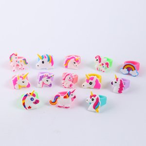 Cute Kids Unicorn Rings Soft Silicone Elastic Cartoon Horse Rings Birthday Party Favors Supplies Boys Girls Fingers Ring Toys Jewelry Gifts