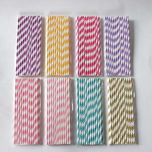 25 pcs Canudos De Papel Biodegradável Cores Diferentes Rainbow Stripe Canudos De Papel Canudos De Papel A Granel para Suco colorido canudo