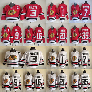 Chicago blackhawks Vintage version jerseys 7 ESPOSITO 9 HULL 3 PILOTE 35 ESPOSITO 21 MIKITA 16 HULL CCM Hockey jersey