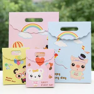 Karikatür Kağıt Hediye Paketi Çanta Çocuk Doğum Hediye Paketi Çanta Sevimli Karikatür Domuz Ayı Kağıt Tote