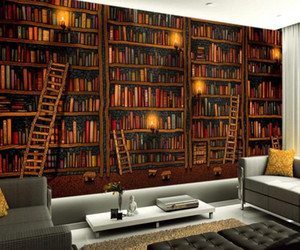 bedroom wallpaper 3D mural decoration painting wallpaper book bookshelf wallpapers background wall