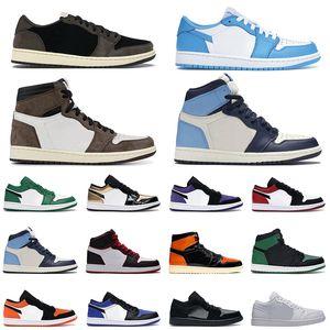 حذاء كرة السلة Air Jordan 1 Obsidian للسيدات والرجال حذاء كرة سلة 1s UNC أسود عند الأصابع المحطمة الخلفية تويست شادو فيرليس للرجال مقاس 36-47