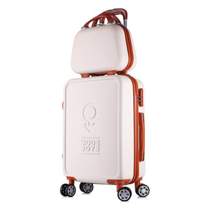 Mujeres ABS Spinner Equipaje con bolsa de cosméticos 2PC Set Lady Fashion Anti-presión Candy Color Suitcase Set 20/22/24/26 pulgadas