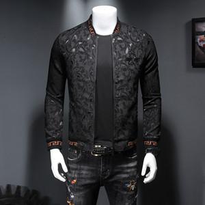 2019 가을과 겨울 새로운 조수 모델 남성 의류 자수 크라운 작은 꿀벌 어두운 꽃 메달 재킷 슬림 지퍼 재킷