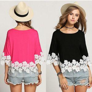 Hirigin Herbst 2017 Mode-Frauen-Spitze-Blumen-T-Shirts Halbarm Sexy Herbst Outwear-T-Shirts für Frauen heiße verkaufende neue Art