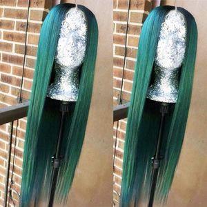 Длинные темные корни зеленый смешанный цвет Ombre Two Tone фронта шнурка синтетические парики прямой жаропрочных Pre волос щипковых парик с волосами младенца