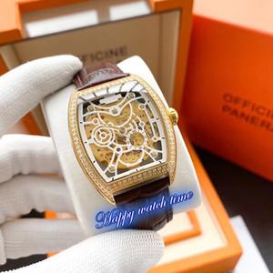 높은 버전 5098R-001 해골 날짜 로즈 골드 다이아몬드 베젤 일본 미요 자동 운동 5098R-001 남성용 시계 가죽 스트랩 시계 다이얼