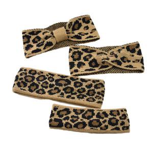 Diadema de lana de punto de leopardo Diadema de estiramiento vintage Diadema para padres e hijos Lazo cálido Adorno cruzado de borde cruzado EEA208