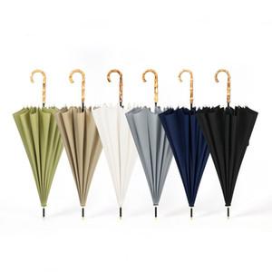 16 Costelas Direto Umbrella Windproof cor sólida punho longo Hetero Handle Umbrella Mulheres Homens Bamboo Pongee Umbrella