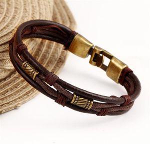 Fashion Multi Layer Bracelet Bangle for Women Genuine Leather Alloy Rope Chain Bracelet Gold Vintage Braided Beaded Bracelets Man Jewelry