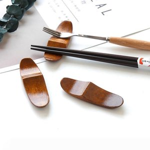 A New Arrival Japanese Style Wooden Chopsticks Holder Household Cutlery Storage Rack Kitchen Spoon Chopsticks Rest WB443