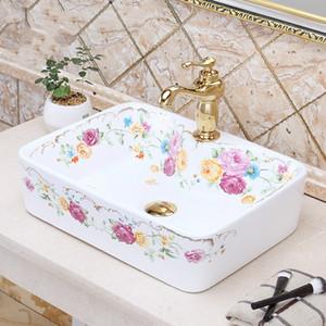 Jingdezhen fábrica diretamente mão arte pintada cerâmica lavatório de porcelana lavagem retangular pias de banheiro bacia