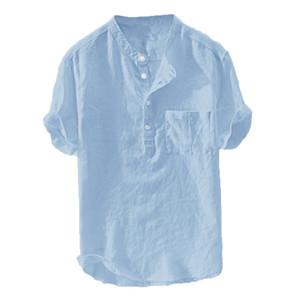 2019 Men's Summer New Pure Cotton Hemp Button Blouse Short Sleeves Fashion Large Top 3XL-6XL Hauts pour hommes Plus Size MX200518