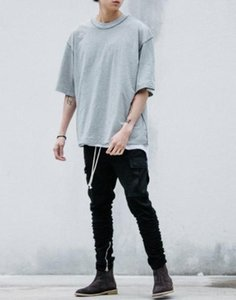 Man streetwear Kanye WEST style clothing men T shirts Extended white grey black oversized tee homme hip hop half sleeve T shirtZQM9#