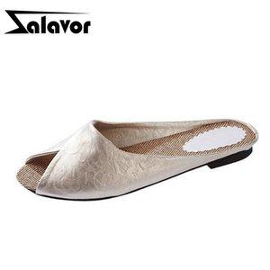 ZALAVOR New Fashion The Flip Flops Women Soft Leather Shoes Leopard Print Peep Toe Sandals Women's Slippers Plus Size 35-40 T200529