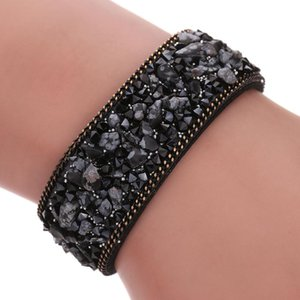 Mulheres Lady larga pulseira envoltório de veludo cristal Detritus Mão Casual cadeia de jóias Acessórios B99