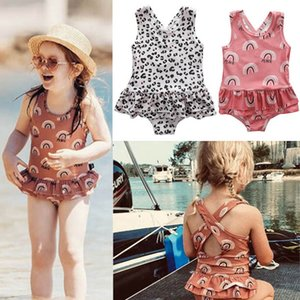 Ins leopard girls swimwear rainbow Kids Swimwear One-piece Girls Bikini Kids Bathing Suits Child Sets Beachwear Baby Swimwear B980