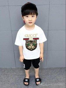 Детская хлопка с коротким рукавом футболки моды буквы рубашки качества футболки случайные рубашка с короткими рукавами футболки детские clothin YY1
