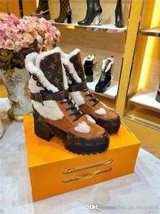 En Tendencia-Boot algodón para mujer de las maravillas Ranger, zapatos de invierno Plataforma Desert Boots Martin en piel de becerro de gamuza aterciopelada con la caja