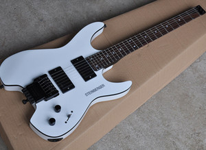 White headless electric guitar with HH pickups,floyd rose,rosewood fretboard,black binding,can be customized as request