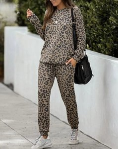 2020 new ladies loose leopard print comfortable long sleeve trousers ladies home service