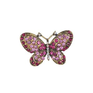 Wholesale Brooch Large Butterfly Alloy Drilling Animal Brooches For Clothing Gift Women Gold Plated Pins
