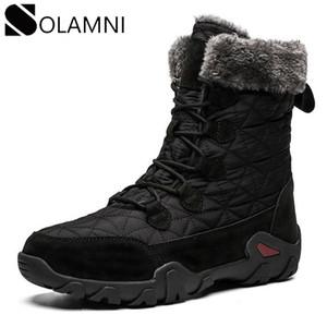 الشتاء الثلوج أحذية للرجال الدافئة سميكة أفخم منصة الكاحل أحذية الرجال في الهواء الطلق للماء المشي لمسافات طويلة الصيد مضادة للانزلاق حذاء مسطح