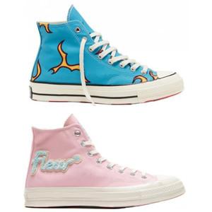 Golf Le Fleur x Chuck 70 Chenille Chamas Hi Homens Mulheres Estrela skateborad Shoes Moda GLF 1970 alta de-rosa lona azul Designers Sneakers36-44