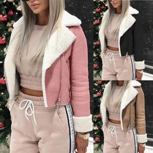 Moda Slim Womail Jacket cappotti delle donne del nuovo velluto imbottito Faux cappotto caldo freddo di cuoio del motociclo del bombardiere del cappotto del rivestimento 815