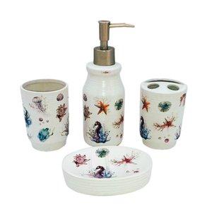 Banho Set 4 Set de banho Acessórios porta-escovas, escova de dentes Cup, Saboneteira, Hand Sanitizer Bottle - Crab Starfish