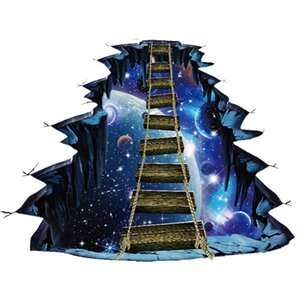 Large 3D Cosmic Space Floor Wall Sticker Galaxy Star Bridge Wall Decals for Kids Room Home Decor Wall Sticker