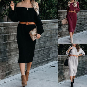 2020 Womens Designer Knits Dress Autumn Winter Long Sleeve Crew Neck Sweater Loose Fashion Female Clothing