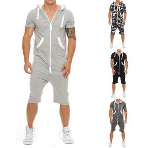 Laamei 원피스 Mens Jumpsuit 반소매 후드 티 스웨트 오버올 2019 여름 패션 남성 바디 슈트 조깅 스포츠웨어
