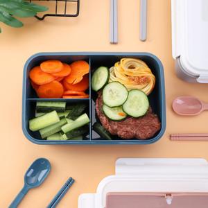 3 Сетки Lunch Box с крышкой школа Открытый Кемпинг Пикник Фруктовая Контейнер для хранения PP Bento Box Student Портативный Посуда Ложка Вилка Chopstick