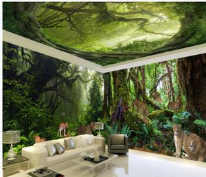 Forest animal 3D stereo theme space background wall modern living room wallpapers