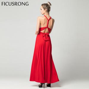 Formal reizvolle lange DressBridesmaid Multi Way Wrap Cabrio Unendlich Maxikleid Red aushöhlen Partei-Verband Vestidos FICUSRONG