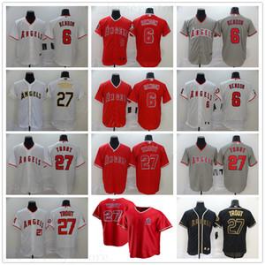2.020 novas temporadas de beisebol 27 Mike Trout Jerseys costurado 6 Anthony Rendon melhor qualidade NK Estilo White Gold Preto Jerseys Red Grey
