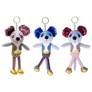 Sequin Mouse Doll Toy Keychain Bag Pendant Cute Colourful Stuffed Animal Toy Gift For Kids Girls Ladies
