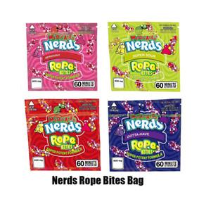 New Nerds Corda mordidas Bag mais novo vazio Praça gomoso medicado Mylar saco de embalagem Pouch para Dry Herb Tabaco Flor de armazenamento Retail