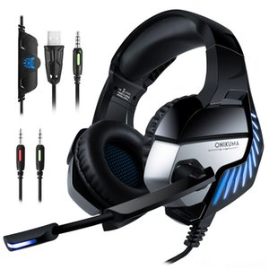 ONIKUMA K5 Pro 3,5 мм игровые наушники лучший шлем наушники гарнитура с микрофоном LED Light для ноутбуков планшетов / PS4 / New Xbox One