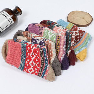 High Quality Vintage Ethnic Cotton Knitting Wool Socks Winter Warm Colorful Long Socks Striped Geometric Stockings for Women Girls