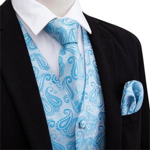 Barry.Wang Designer Mens Fahsion Mavi Set Jakarlı Yelek Kol Düğmeleri İpek Yelek Dokuma Suit Kravat Mendil 100% Paisley Yelekler Ogiar