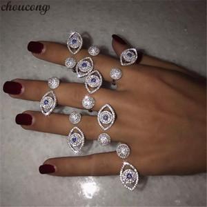choucong élégante forme Eey Promise Ring pave or blanc rempli Micro 5A cz Soirée Party Anneaux bande de mariage pour les femmes Bijoux