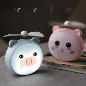 DHL Cartoon Mini cute pet USB charging cartoon fan Mini with LED lamp cartoon animal pocket small fan